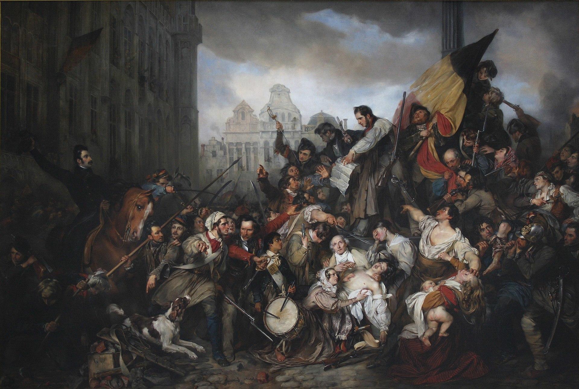 1920px Wappers Episodes from September Days 1830 on the Place de l Hôtel de Ville in Brussels