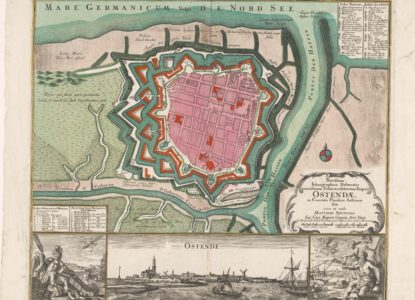 1 Plattegrond van Oostende met stadsgezicht Matthaeus Seutter III 1708 1757